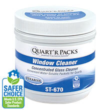 Stearns Quart'r Packs Glass Window & Stainless Steel Cleaner - (4) 80 x 1.5 g Containers