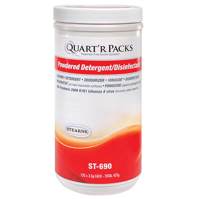Stearns Quart'r Packs Powdered Detergent/Disinfectant - (4) 125 x 3.5 g Containers