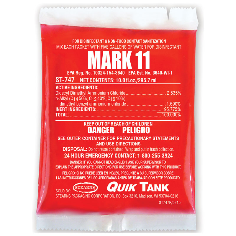Stearns Quik Tank Mark 11 Disinfectant Cleaner - (10) 10 fl. oz. Packets