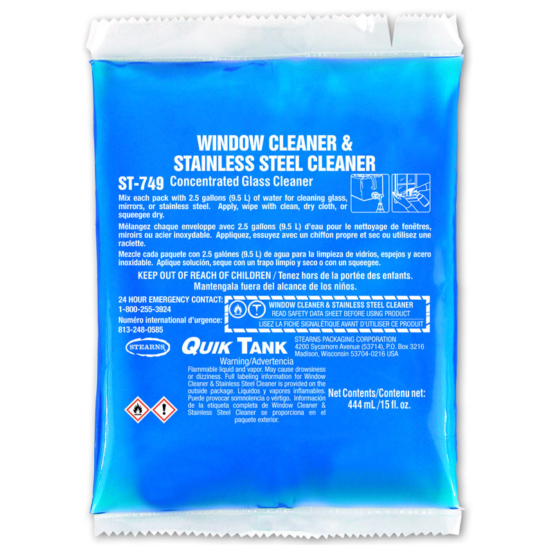 Stearns Quik Tank Glass Window & Stainless Steel Cleaner - (6) 15 fl. oz. Packets