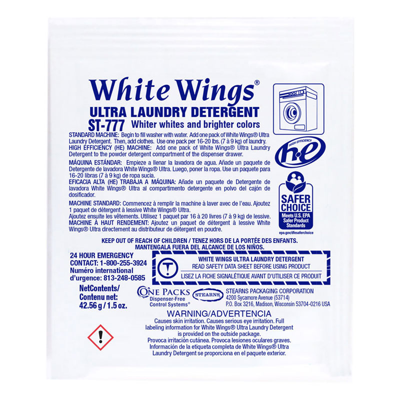 One Packs ST-777 White Wings Ultra Laundry Detergent - (72) 1.5 wt. oz. Packets