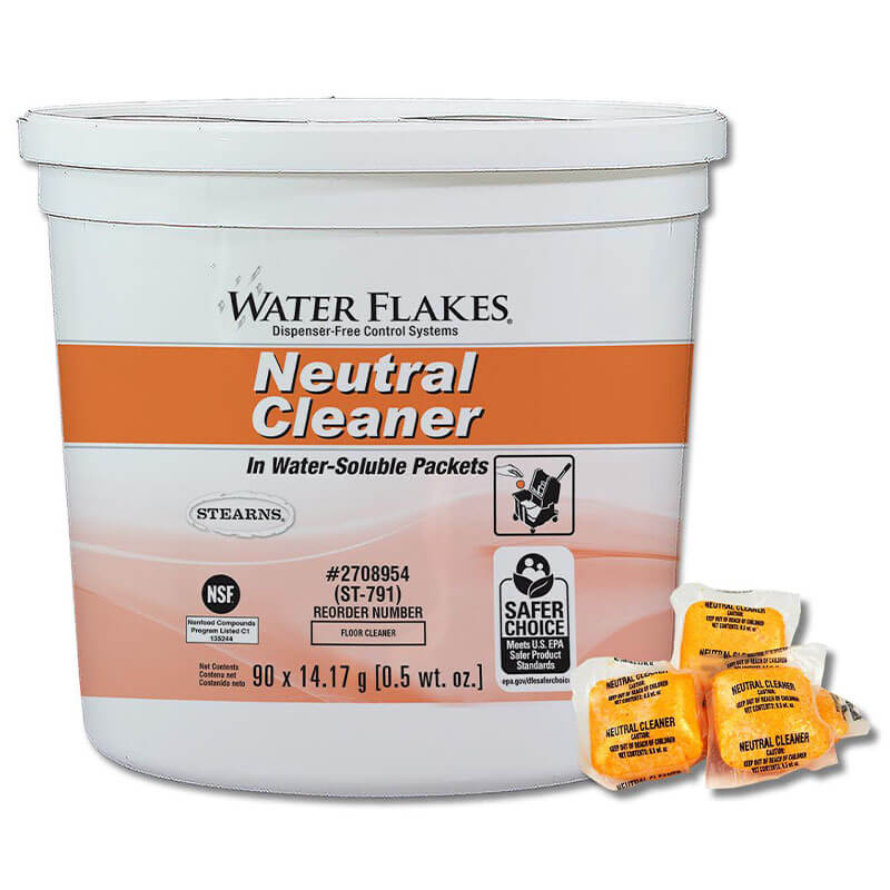 Stearns Water Flakes Neutral Floor Cleaner - (2) 90 x 0.5 wt. oz. Pails