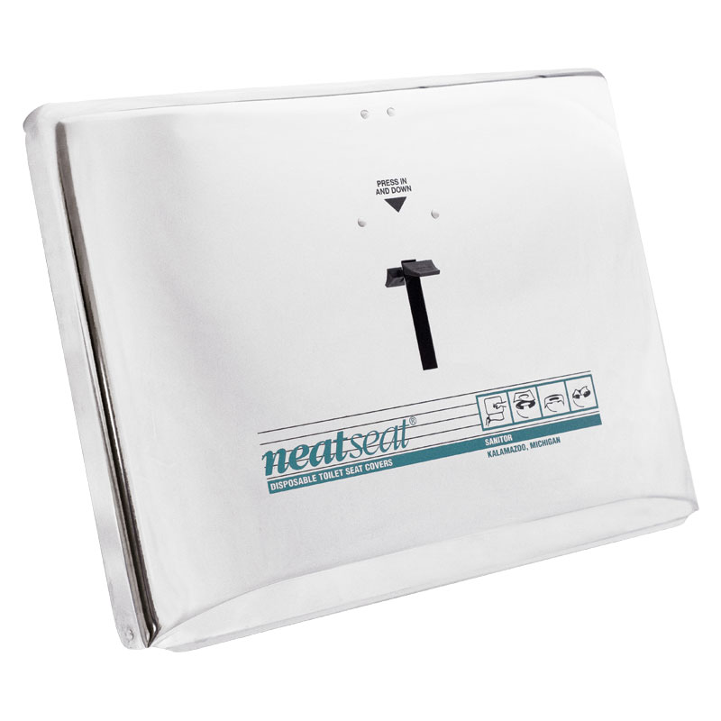 sanitor fh33pc neatseat disposable toilet seat cover dispenser polished chrome plated metal paper products unoclean