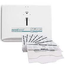 Sanitor NeatSeat® Combo Pack - 1,000 Toilet Seat Covers & 2 White Metal Dispensers