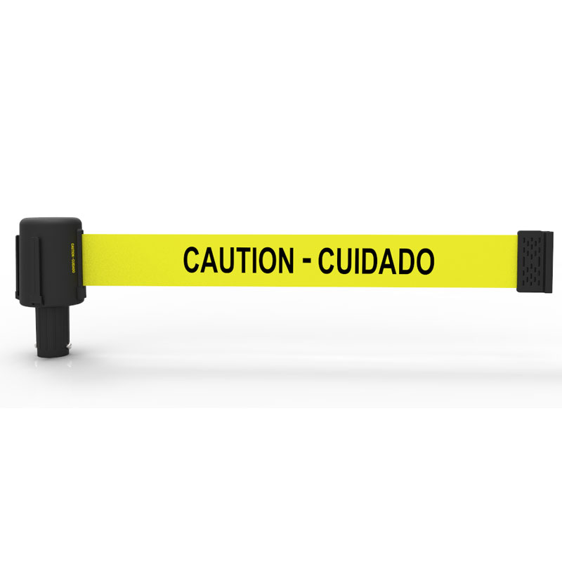 "Deliver the ""CAUTION-CUIDADO"" safety message with clear, high visibility under any kind of weather condition."