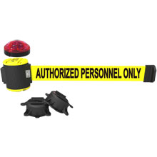 Authorized Personnel Only Banner, Yellow - 30' Magnetic Wall Mount w/ Light Kit BST-MH5003L