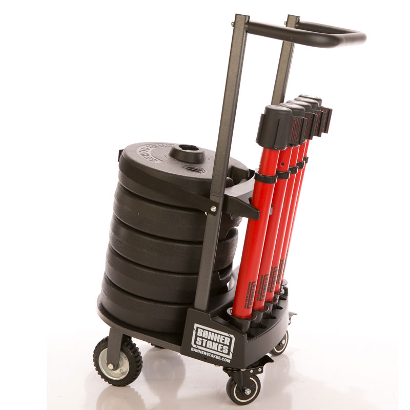 PLUS Cart Package includes 5 stakes, 5 bases, and 5 banner heads and mobile cart to set up an effective safety barricade system indoors or outdoors.