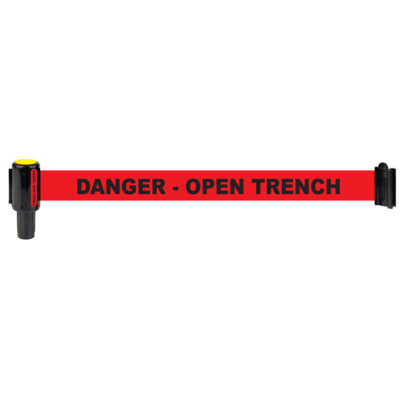 "Deliver the ""Danger Open Trench"" message with clear, high visibility under any kind of weather condition."