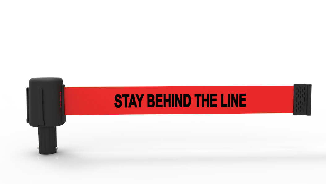 "Banner Stakes PLUS PL4051 Red Stay Behind the Line Banner Replacement. Deliver the ""STAY BEHIND THE LINE"" warning safety message with clear, high visibility under any kind of weather condition. Banner Stakes PLUS Safety Barrier System Replacement Banner Head."