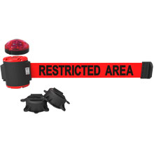 30 ft. Restricted Area Red Magnetic Wall Mount Banner w/ Light Kit