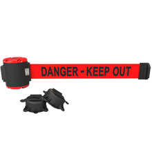 Danger Keep Out Magnetic Wall Mount Banner - 30' Retractable Belt