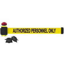 Authorized Personnel Only Banner, Yellow - 7' Magnetic Wall Mount w/ Light Kit BST-MH7013L