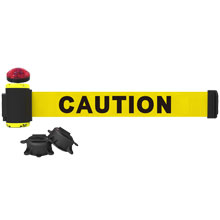 Caution Banner, Yellow - 7' Magnetic Wall Mount w/ Light Kit BST-MH7001L