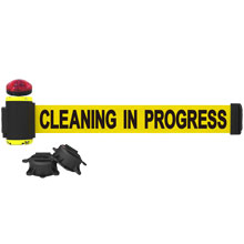 Cleaning In Progress Banner, Yellow - 7' Magnetic Wall Mount w/ Light Kit BST-MH7004L
