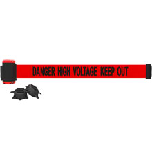 High Voltage Keep Out Banner, Red - 7' Magnetic Wall Mount BST-MH7009