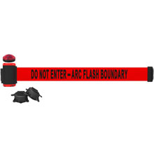 Arc Flash Boundary Banner, Red - 7' Magnetic Wall Mount w/ Light Kit BST-MH7010L
