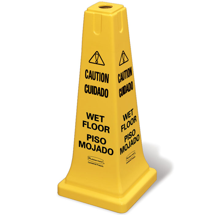 Rubbermaid [6277-77] 4-Sided Safety Cone - Yellow - Caution/Wet Floor Symbol (Multilingual) - 25 3/4