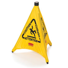 Rubbermaid [9S01] Pop-Up Safety Cone - Yellow - Caution/Wet Floor Symbol (Multilingual)