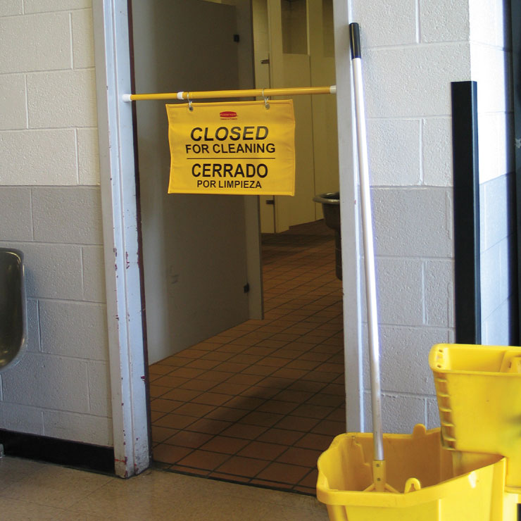 Rubbermaid [9S16] Site Safety Hanging Sign - Yellow - Closed For Cleaning (Multilingual)
