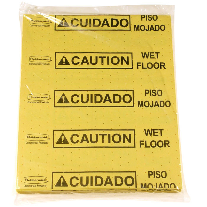 Over-the-Spill Pads, Polypropylene - Caution Wet Floor RCP4252YEL