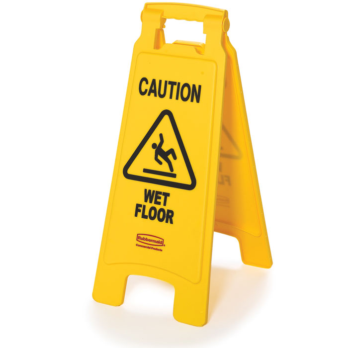 Rubbermaid 2-Sided Folding Floor Sign - Caution Wet Floor