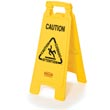 Rubbermaid [6112] 2-Sided Folding Floor Sign - Yellow - Caution (Multilingual) RCP6112YEL