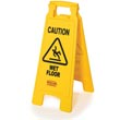 Rubbermaid [6112-77] 2-Sided Folding Floor Sign - Yellow - Caution Wet Floor RCP6112-77YEL