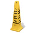 "Rubbermaid [6276-77] 4-Sided Safety Cone - Yellow - Caution/Wet Floor Symbol (Multilingual) - 36"" H RCP6276-77YEL"
