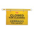 Rubbermaid [9S16] Site Safety Hanging Sign - Yellow - Closed For Cleaning (Multilingual) RCP9S16YEL