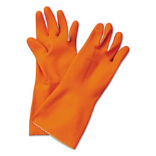 "Galaxy Yellow and Orange Reusable Flock-Lined Gloves - 12"" Orange Latex - Large GLX244L"