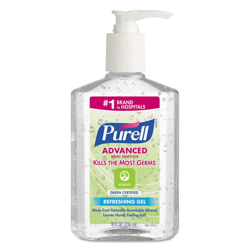 Green Certified Instant Hand Sanitizer Gel, 8 oz Pump Bottle