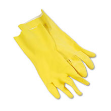 "Galaxy Yellow and Orange Reusable Flock-Lined Gloves - 12"" Yellow Latex - Large GLX242L"