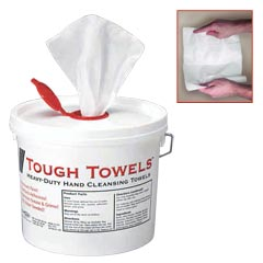 deb SBS [04150-E] Tough Towels™ Heavy Duty Hand Cleansing Towels - (1) 150-Count Plastic Tub