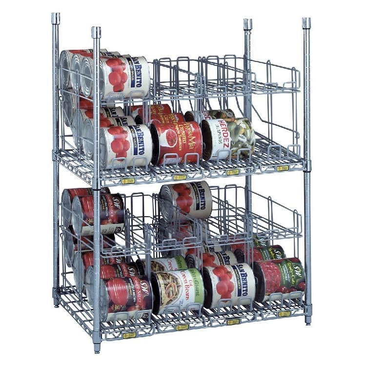 R&B Wire Metal Frame Can Storage & Dispensing Rack System - 2 Tiers