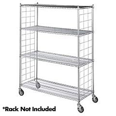 "R&B Wire [LC24-KIT] Metal Linen Rack Wire Frame Enclosure Panels - Chrome - (2) 24"" x 72"" Side Panels"