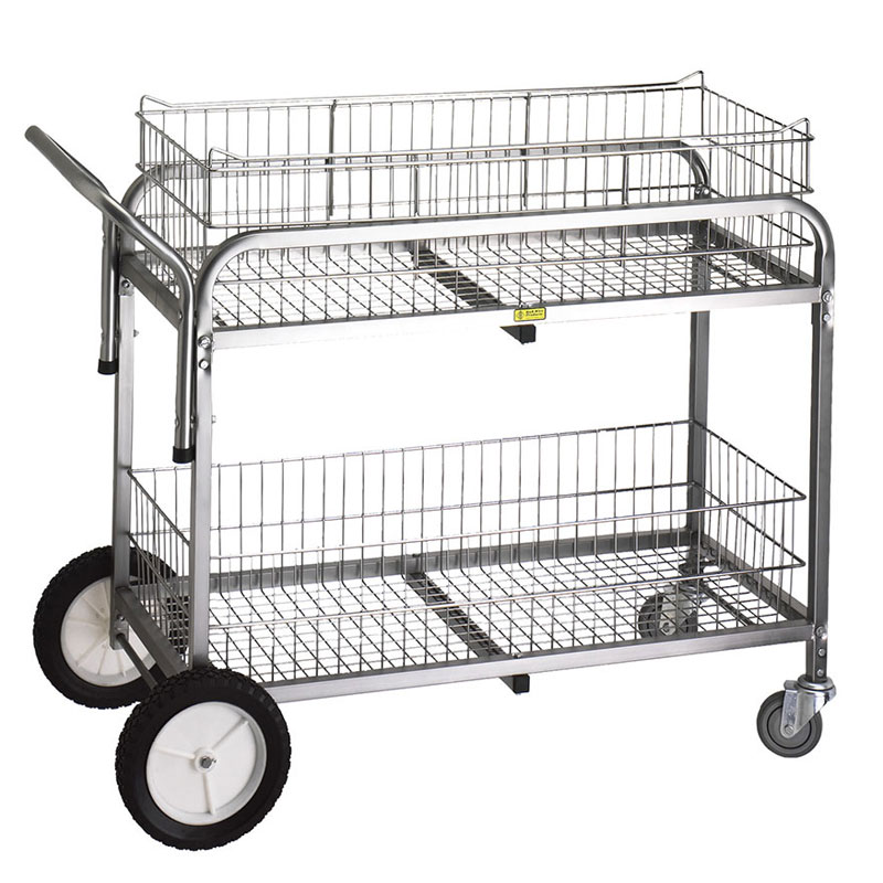 R&B Wire Large Capacity Tubular Steel Utility Cart - Chrome - 2 Baskets
