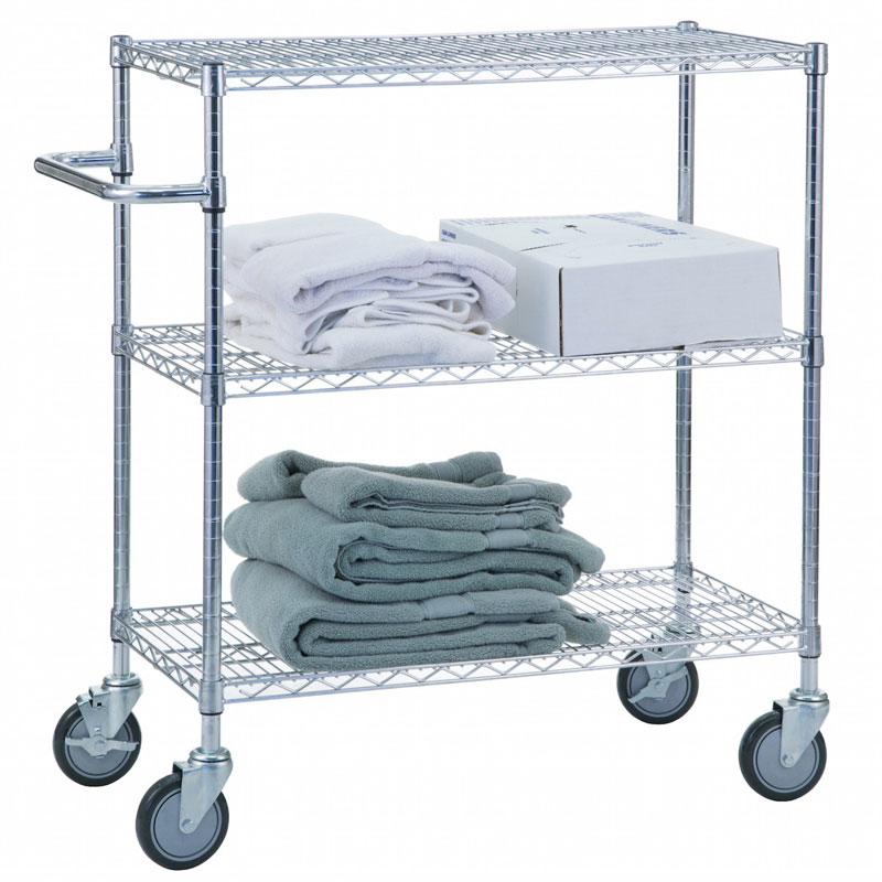 R&B Wire [UC2436] Portable & Adjustable Metal Wire Utility Cart - Chrome - 3 Wire Shelves - 24