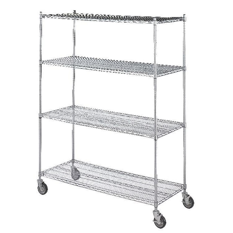 R&B Wire Portable & Adjustable 4 Wire Shelf Linen Cart - 18