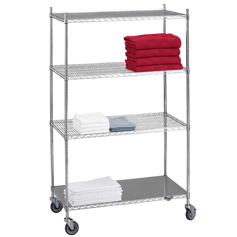 R&B Wire Portable & Adjustable Linen Cart - 3 Wire Shelves - 1 Solid Shelf - 18