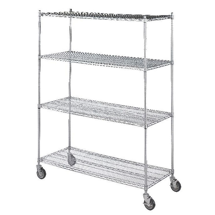 R&B Wire Portable & Adjustable Linen Cart - 4 Wire Shelves - 18