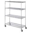 "R&B Wire [LC183672] Portable & Adjustable Metal Wire Linen Cart - Chrome - 4 Wire Shelves - 18"" x 36"" x 72"""