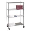 "R&B Wire [LC183672SOL] Portable & Adjustable Metal Wire Linen Cart - Chrome - 3 Wire Shelves - 1 Solid Shelf - 18"" x 36"" x 72"""