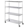 "R&B Wire [LC246072] Portable & Adjustable Metal Wire Linen Cart - Chrome - 4 Wire Shelves - 24"" x 60"" x 72"""