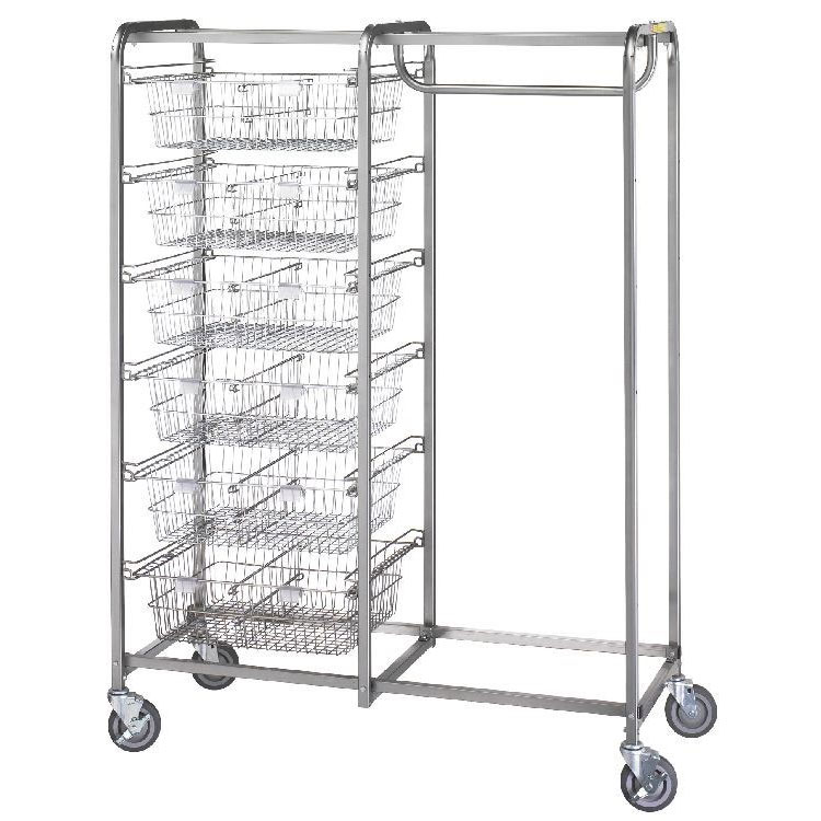 R&B Wire Portable Resident Items & Hanging Garment Storage Cart