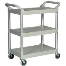 Rubbermaid [3424-88] Light-Duty Utility Cart w/ Brushed Aluminum Uprights - 3 Shelves - Platinum