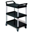 Rubbermaid [3424-88] Light-Duty Utility Cart w/ Brushed Aluminum Uprights - 3 Shelves - Black