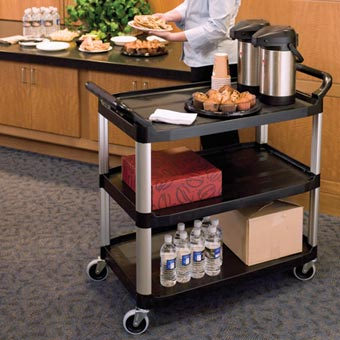 Rubbermaid [4091] Xtra™ Light-Duty Utility Cart - Open All Sides - 3 Shelves - Black