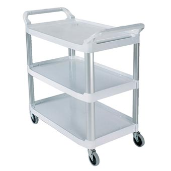 Rubbermaid [4091] Xtra™ Light-Duty Utility Cart - Open All Sides - 3 Shelves - Off White