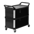 Rubbermaid [4093] Xtra™ Utility Cart w/ 3 Enclosed Sides - 3 Shelves - Black RCP4093BLA