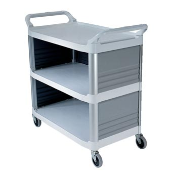 Rubbermaid [4093] Xtra™ Utility Cart w/ 3 Enclosed Sides - 3 Shelves - Off White